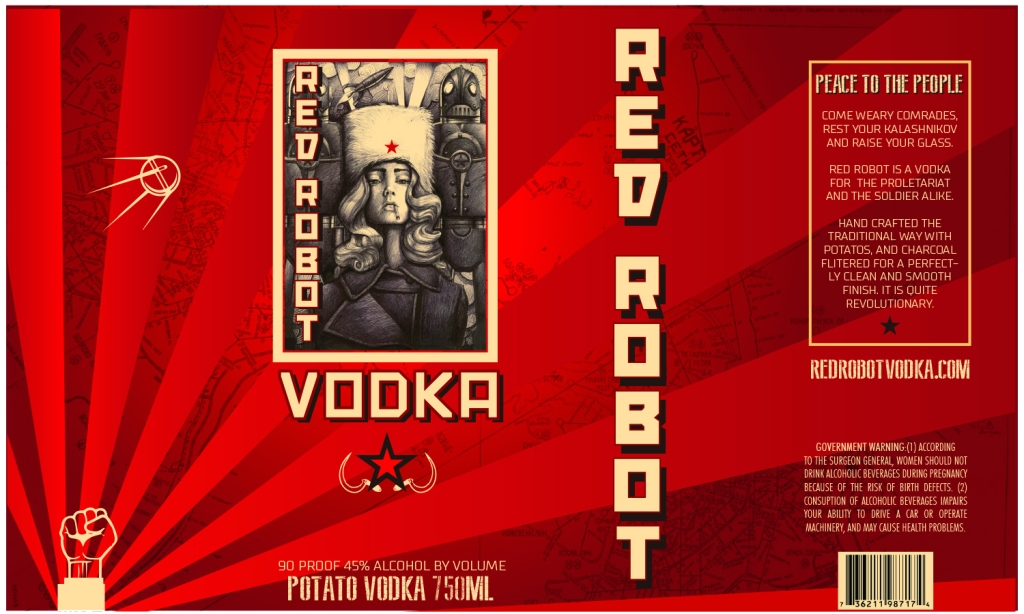 Red Robot Vodka Label