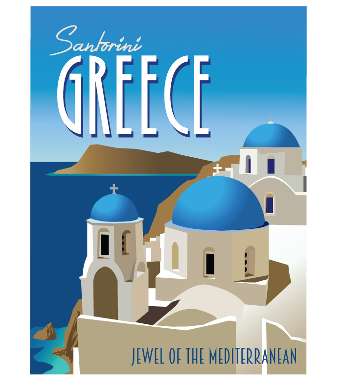 Santorini Greece Travel Poster
